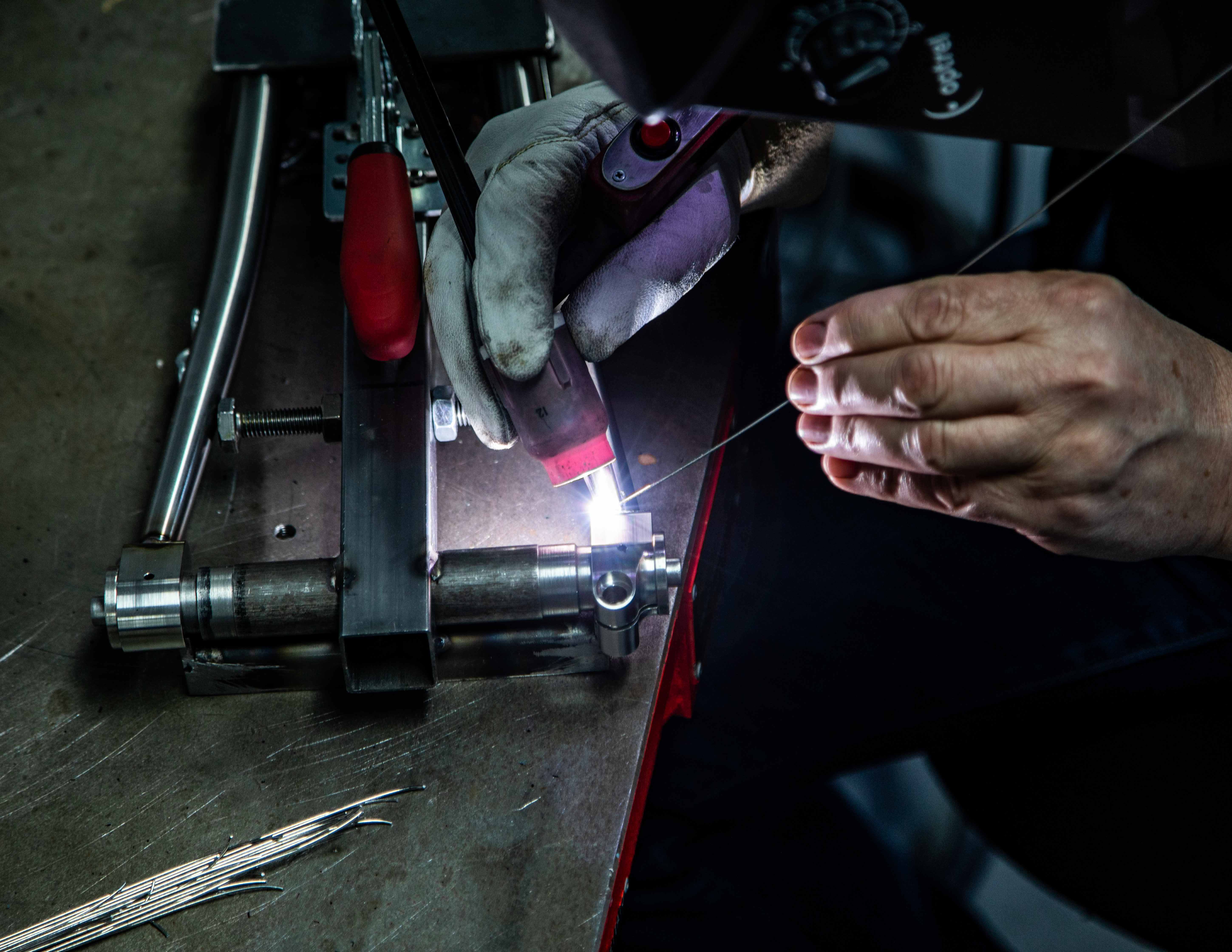 Johan Vranckx using the TIG welding technique on the thru axles and chain stays.